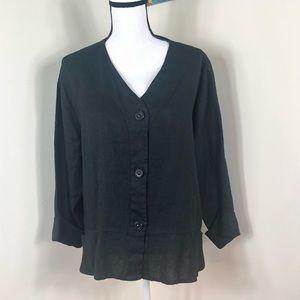 FLAX 100% Linen Button Up Blouse Large